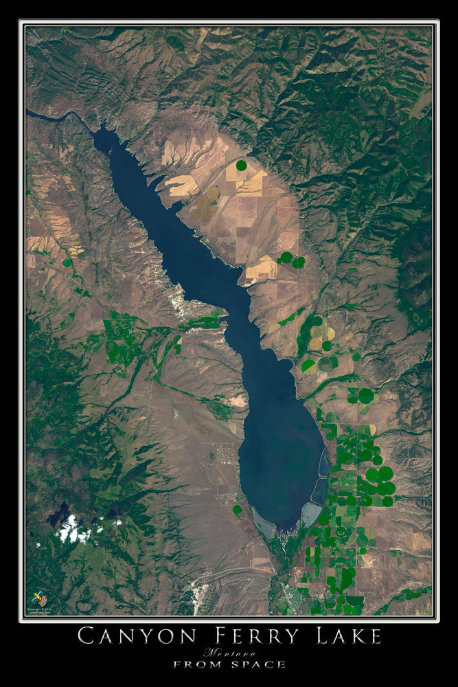 Canyon Ferry Lake Montana Satellite Poster Map - TerraPrints.com