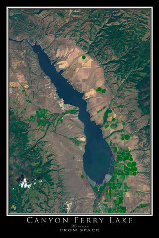 Canyon Ferry Lake Montana From Space Satellite Poster Map - TerraPrints.com