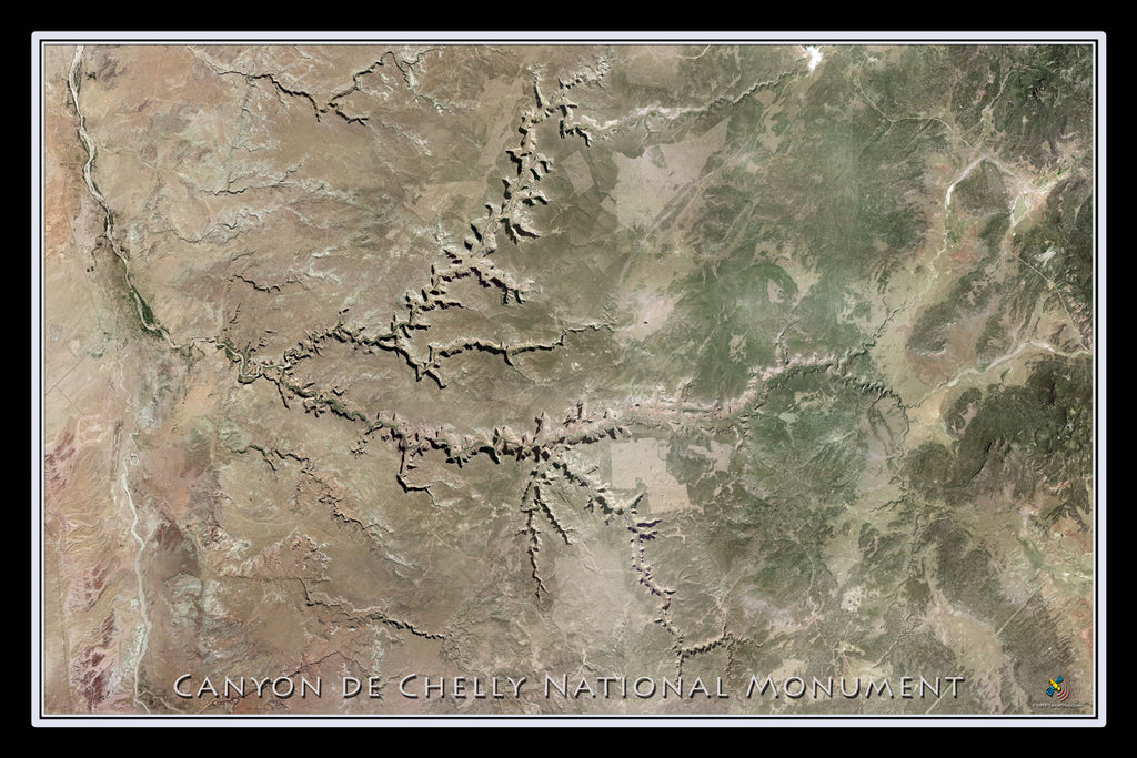 Canyon de Chelly National Monument Arizona From Space Satellite Poster Map - TerraPrints.com