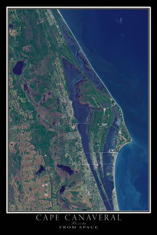 Cape Canaveral Florida From Space Satellite Poster Map - TerraPrints.com