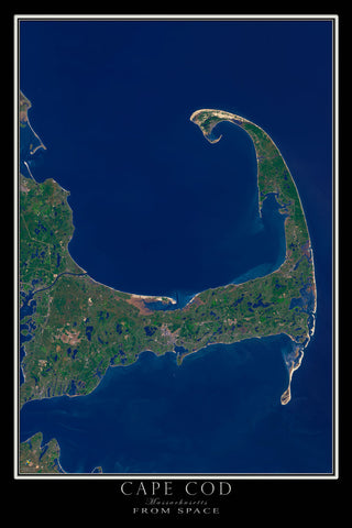 Cape Cod Massachusetts From Space Satellite Poster Map - TerraPrints.com