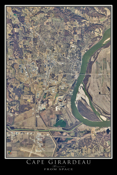 Cape Girardeau Missouri From Space Satellite Poster Map - TerraPrints.com