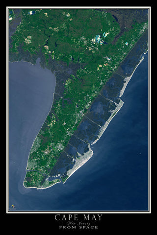 Cape May New Jersey From Space Satellite Poster Map - TerraPrints.com