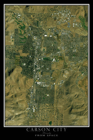 Carson City Nevada From Space Satellite Poster Map - TerraPrints.com