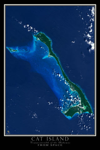 Cat Island Bahamas From Space Satellite Poster Map - TerraPrints.com