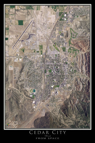 Cedar City Utah From Space Satellite Poster Map - TerraPrints.com