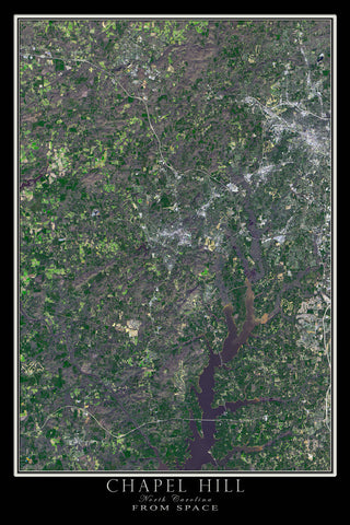Chapel Hill North Carolina From Space Satellite Poster Map - TerraPrints.com