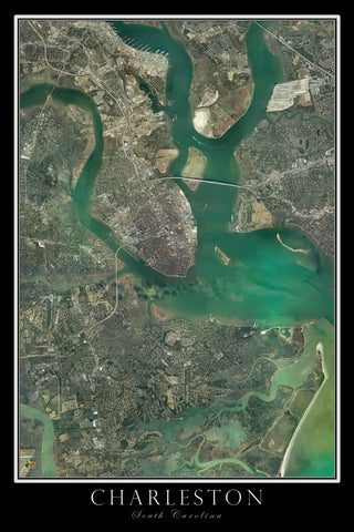 Charleston South Carolina From Space Satellite Poster Map - TerraPrints.com