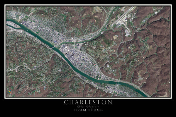 Charleston West Virginia From Space Satellite Poster Map - TerraPrints.com