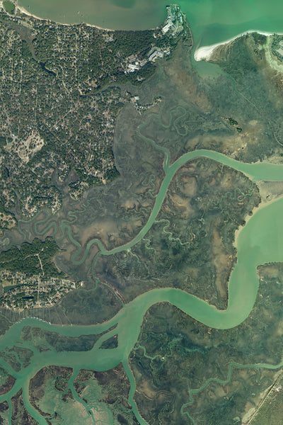 Charleston South Carolina From Space Satellite Poster Map