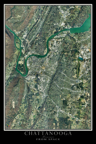 Chattanooga Tennessee From Space Satellite Poster Map - TerraPrints.com
