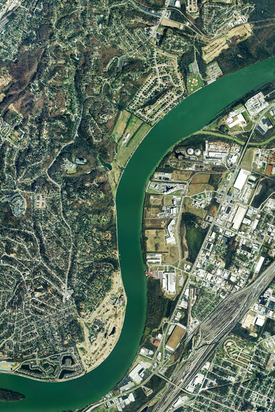 Chattanooga Tennessee From Space Satellite Poster Map