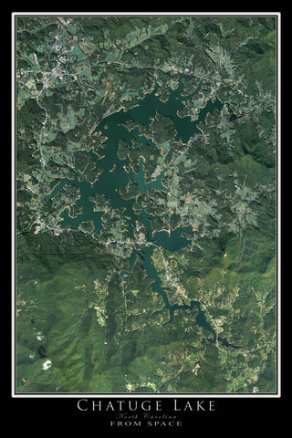Chatuge Lake Georgia - North Carolina From Space Satellite Poster Map - TerraPrints.com