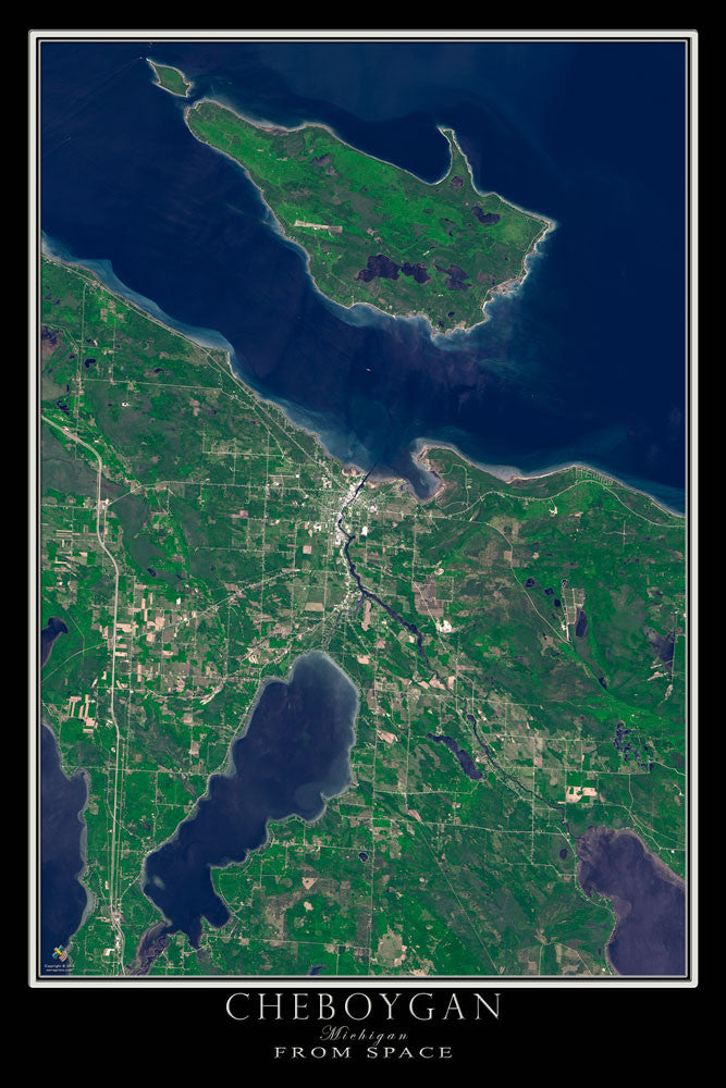 Cheboygan Michigan From Space Satellite Poster Map - TerraPrints.com