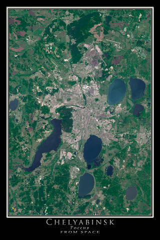 Chelyabinsk Russia Satellite Poster Map