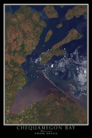Chequamegon Bay Wisconsin From Space Satellite Poster Map - TerraPrints.com
