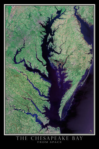 Chesapeake Bay Virginia - Maryland From Space Satellite Poster Map - TerraPrints.com