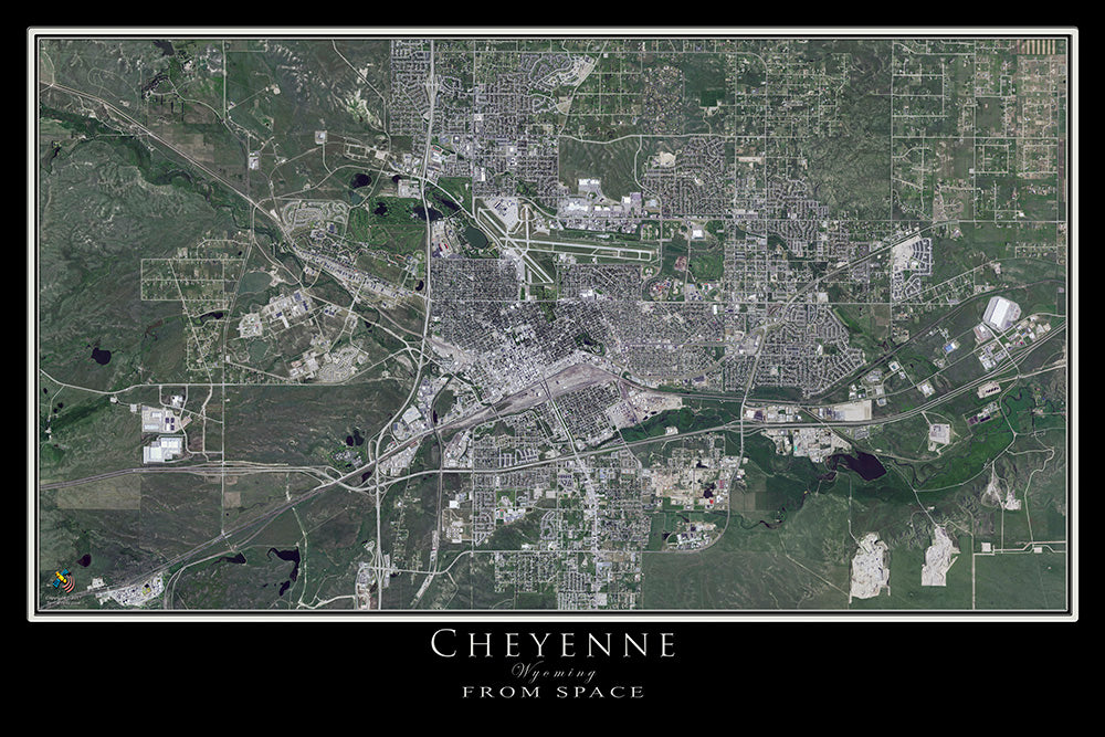 Cheyenne Wyoming Satellite Poster Map
