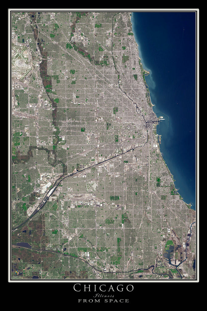 Chicago Illinois From Space Satellite Poster Map - TerraPrints.com