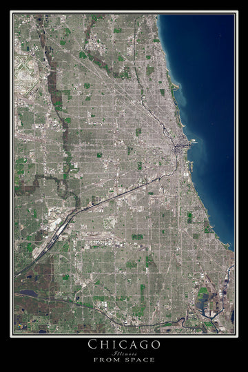 The Chicago Illinois Satellite Poster Map