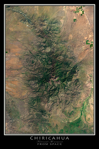 Chiricahua National Monument Arizona From Space Satellite Poster Map - TerraPrints.com