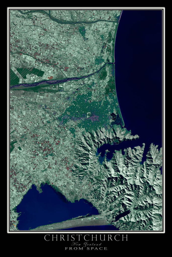 Christchurch New Zealand Satellite Poster Map - TerraPrints.com