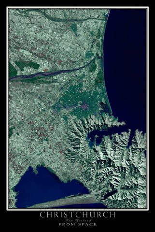 Christchurch New Zealand From Space Satellite Poster Map - TerraPrints.com