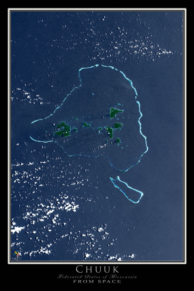 Chuuk Micronesia From Space Satellite Poster Map - TerraPrints.com