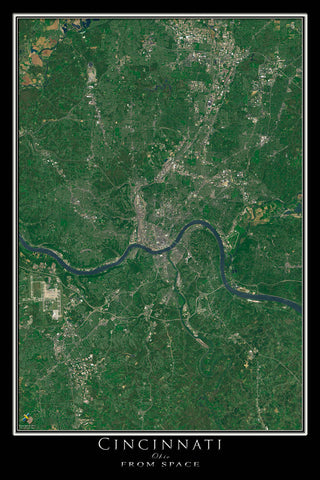 Cincinnati Ohio From Space Satellite Poster Map - TerraPrints.com