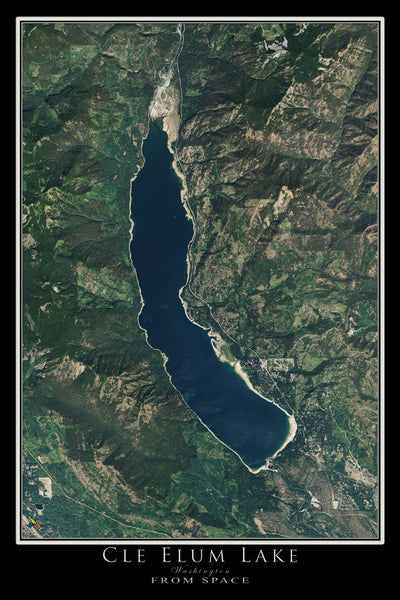 Che Elum Lake Washington Satellite Poster Map