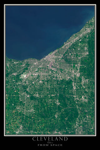 Cleveland Ohio From Space Satellite Poster Map - TerraPrints.com