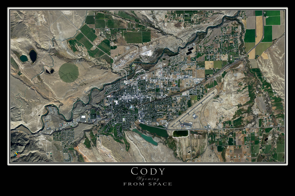 Cody Wyoming Satellite Poster Map