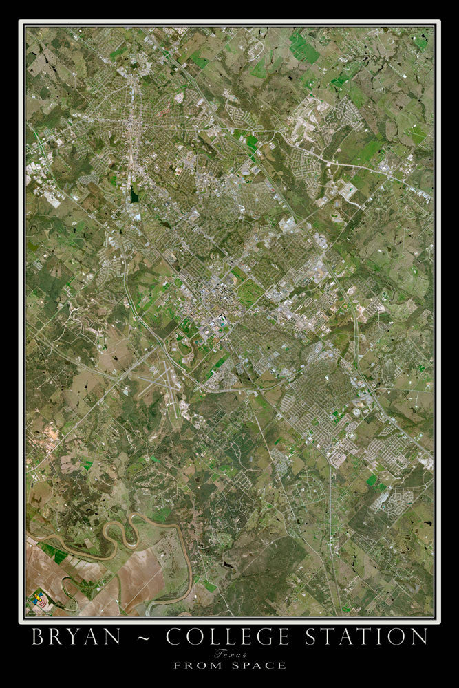 Bryan & College Station Texas From Space Satellite Poster Map - TerraPrints.com