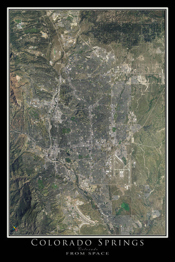 The Colorado Springs Colorado Satellite Poster Map