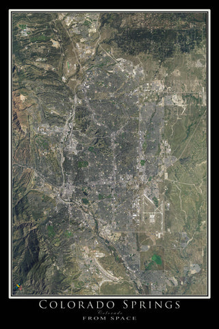 Colorado Springs Colorado From Space Satellite Poster Map - TerraPrints.com