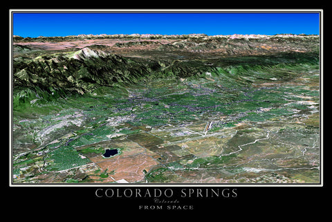 Colorado Springs Colorado 3d From Space Satellite Poster Map - TerraPrints.com