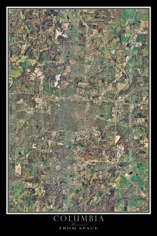 Columbia Missouri Satellite Poster Map - TerraPrints.com