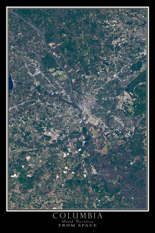 Columbia South Carolina From Space Satellite Poster Map - TerraPrints.com