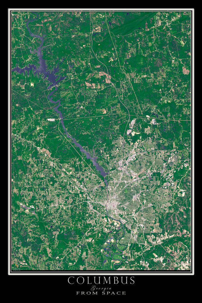 Satellite Map Of Georgia.Columbus Georgia Satellite Poster Map Terraprints Com