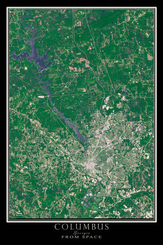Columbus Georgia From Space Satellite Poster Map - TerraPrints.com
