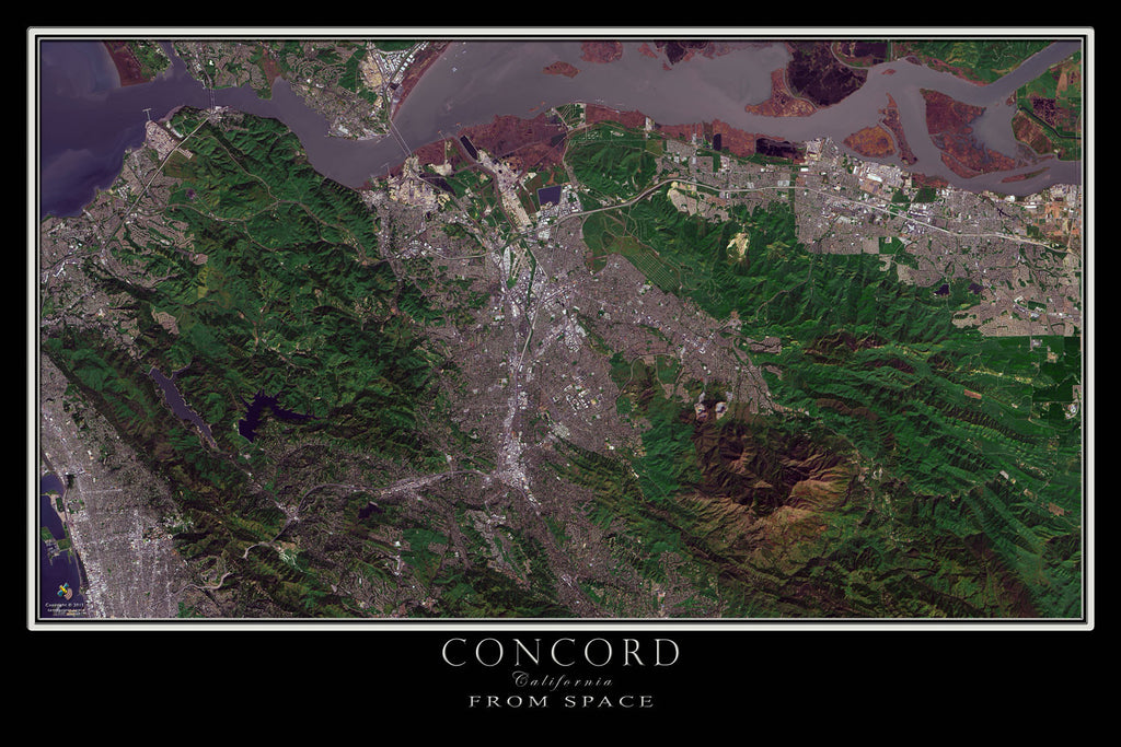 Concord California From Space Satellite Poster Map - TerraPrints.com