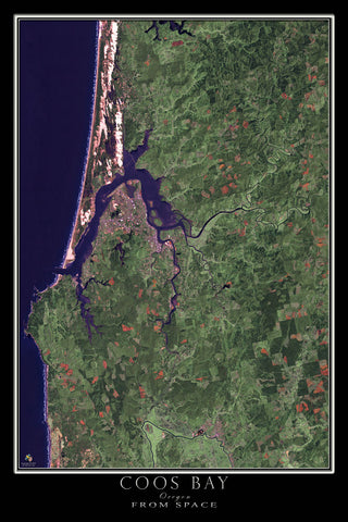Coos Bay Oregon From Space Satellite Poster Map - TerraPrints.com