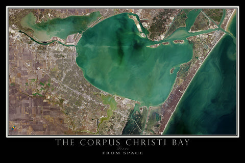 Corpus Christi Bay Texas From Space Satellite Poster Map - TerraPrints.com
