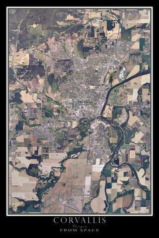 Corvallis Oregon From Space Satellite Poster Map - TerraPrints.com