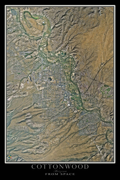 Cottonwood Arizona From Space Satellite Poster Map - TerraPrints.com