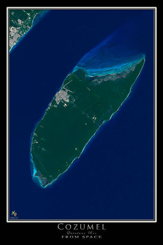 Cozumel Mexico From Space Satellite Poster Map - TerraPrints.com