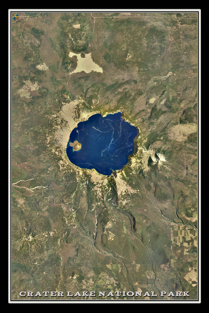 Crater Lake National Park Oregon From Space Satellite Poster Map - TerraPrints.com