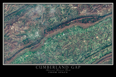 Cumberland Gap National Park Tennessee-Virginia-Kentucky From Space Satellite Poster Map - TerraPrints.com