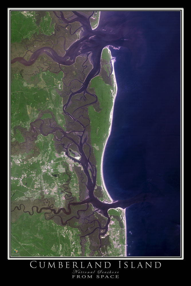Cumberland Island National Seashore Georgia From Space Satellite Poster Map - TerraPrints.com