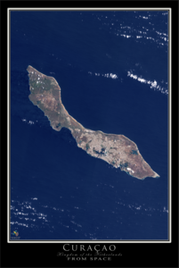 The Island of Curaçao Satellite Poster Map